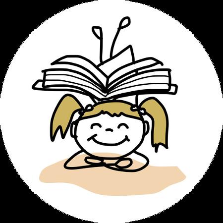Niña sonriente con libro