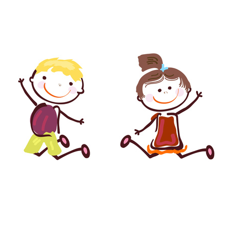 Niño y niña sonrientes y saltando